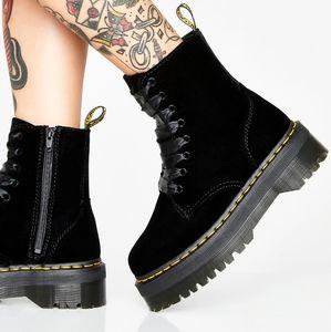 RARE Dr Martens Jadon Velvet Platform boots